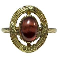 Antique Edwardian Garnet Ring 18K