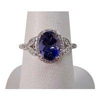 Vintage Estate Natural Iolite & Diamond Ring 14K
