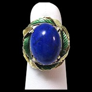 Vintage Estate 1950's Lapis Lazuli Enamel Cocktail Ring 14K
