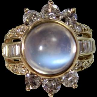 Vintage Estate Sugarloaf Moonstone Diamond Wedding Ring 14K
