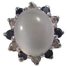 Vintage Estate Moonstone Sapphire Diamond Engagement Ring
