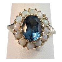 Antique Edwardian Natural London Blue Topaz & Opal Halo Ring 14K