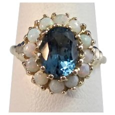 Antique Edwardian Natural London Blue Topaz & Opal Halo Ring 14K