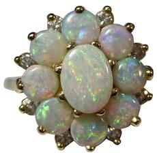 Estate Natural Engagement Wedding Birthstone Opal & Diamond Ring 14K