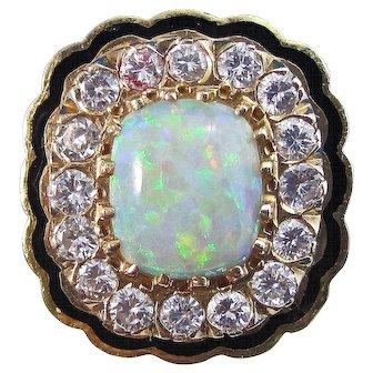 Natural Opal & Diamond Estate 1950's Engagement Wedding Birthstone Ring 14K