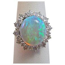 Natural Opal & Diamond 1980's Halo Birthstone Anniversary Wedding Estate Ring 14K White Gold