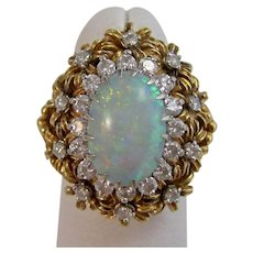 Huge 1950's Natural Opal & Diamond Cocktail Dinner Ring 18K