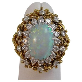 Huge 1950's Natural Opal & Diamond Cocktail Dinner Ring 18K