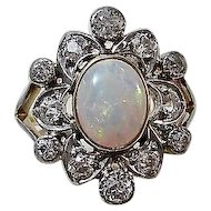 Antique Edwardian White Opal & Diamond Engagement Birthstone Ring 18K & Platinum