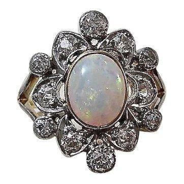 Antique Edwardian White Opal & Diamond Engagement Ring 18K & Platinum