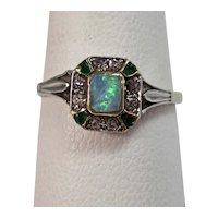Antique Victorian Opal, Emerald, Diamond Ring 14K