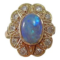 Antique Victorian Opal & Diamond Floral Cluster Ring 14K