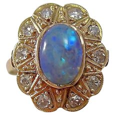 Antique Victorian Opal & Diamond Floral Halo Engagement Birthstone Ring 14K