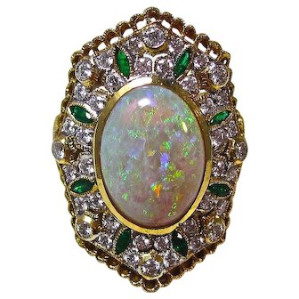 Natural Opal, Emerald, Diamond Engagement Wedding Birthstone Dinner Ring 21K