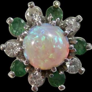 Vintage Estate Opal, Diamond, Emerald Ring