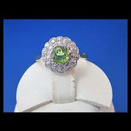 Antique Edwardian 1910's Peridot Diamond Engagement Wedding Birthstone Halo Ring Platinum 18K Yellow Gold