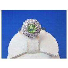 Antique Edwardian 1910's Peridot Diamond Engagement Wedding Birthstone Halo Ring Platinum 18K Yellow Gold