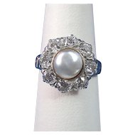 Cultured Pearl & Diamond Estate Engagement Wedding Day Birthstone Halo Ring 14K