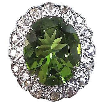 Art Deco 1920's Peridot & Diamond Estate Halo Engagement Wedding Birthstone Ring Platinum