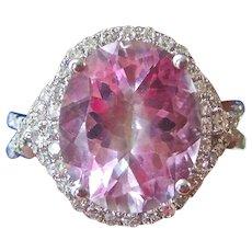 Vintage 1960's 6.32 Pink Topaz & Diamond Halo Engagement Wedding Day Birthstone Ring 14K