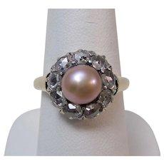 Antique Victorian Engagement Wedding Cultured Pearl/Rose Cut Diamond Halo Ring 14K Platinum