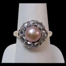 Estate Engagement Wedding Edwardian Cultured Pearl & Rose Cut Diamond Halo Ring 14K Platinum