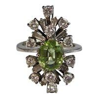 Vintage Estate Natural Peridot Diamond Ring 14K