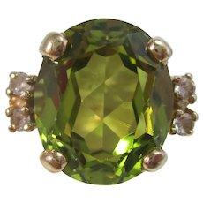 Vintage Estate Peridot Diamond Ring 14K