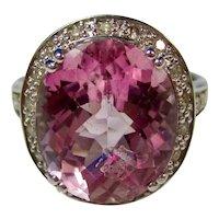Vintage Estate Natural Kunzite & Diamond Ring 14K