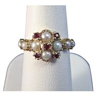Art Deco 1920's Natural Ruby & Cultured Pearl Engagement Birthstone Ring 14K