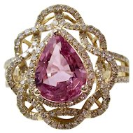 Ceylon Natural Pink Sapphire & Diamond Estate Engagement Anniversary Birthstone Cocktail Ring 18K