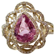 Ceylon Natural Pink Sapphire & Diamond Estate Engagement Anniversary Birthstone Ring 18K