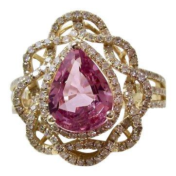 Ceylon Natural Pink Sapphire & Diamond Estate Cocktail Ring 18K