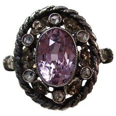 Antique Victorian Natural Purple Sapphire & Diamond Engagement Birthstone Ring 15K