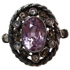 Antique Victorian Natural Purple Sapphire & Diamond Engagement Birthstone Ring 15K