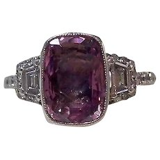 Vintage Estate Art Deco Birthstone Engagement Anniversary Pink Sapphire & Diamond Ring Platinum