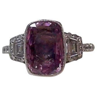 Vintage Estate Art Deco Birthstone Engagement Anniversary Pink Sapphire & Diamond Ring Platinum