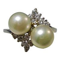Vintage Estate Cultured Pearl & Diamond Ring 14K