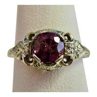 Vintage Estate Art Deco Pink Sapphire Ring 18K