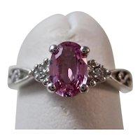 Vintage Estate Pink Sapphire & Diamond Engagement Birthstone Ring 14K
