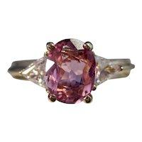 Vintage Estate 3 Stone Pink Tourmaline Diamond Ring 14K