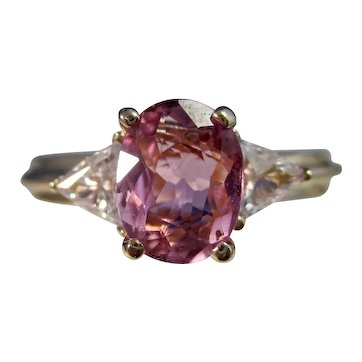 Vintage Estate 3 Stone Pink Tourmaline Diamond Ring 14K