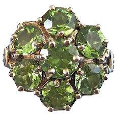 Natural Peridot Cluster Estate Engagement Wedding Birthstone Ring 14K