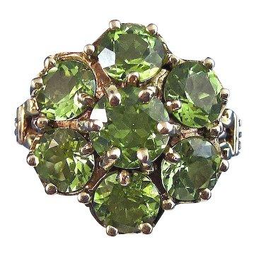 Estate Natural Peridot Cluster Birthstone Ring 14K Yellow Gold