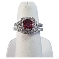Natural Ruby Diamond Birthstone Estate Engagement Wedding Set Halo Ring 14K