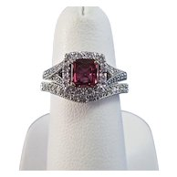 Natural Ruby Diamond Birthstone Estate Engagement Wedding Set Halo Ring 14K