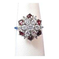 Ruby & Diamond Estate Birthstone Engagement Cluster Ring 14K