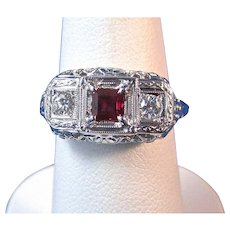 Vintage Estate Art Deco Natural Ruby Diamond Engagement Anniversary Birthstone Ring 18K