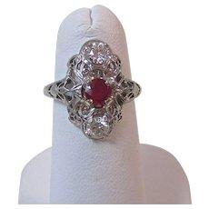 Art Deco 1920's Ruby & Diamond Estate Engagement Wedding Birthstone Ring 14K