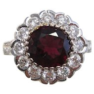 Natural Rubellite & Diamond Estate Engagement Anniversary Birthstone Halo Ring 18K